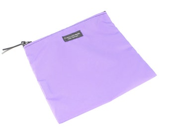 8x8 inch Purple basic nylon zipper pouch -- use for travel, snacks, cosmetics, a tool bag, photo-video gear, and more!