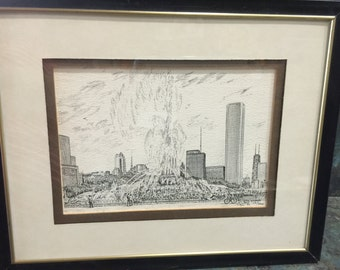Diana Weber Buckingham Fountain in Chicago, Illinois Signed Pen & Ink Limited Edition 10/500 1982
