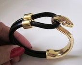 Gold Snake and Black Leather Half Hook Cuff Bracelet