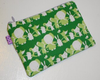 Sweet Animal Parade Zippy Pouch - Cosmetic Case// Camera Bag//Small Wallet//Coin Purse