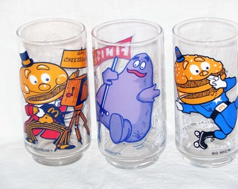 Ronald McDonald Promotional Glasses Vintage Set Of Three 1977 Mint Condition Collectible Lot B