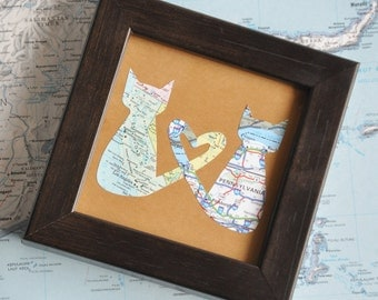 Boyfriend Gift Personalized Valentine Gift for Best Friend BFF Map Framed Love Cats