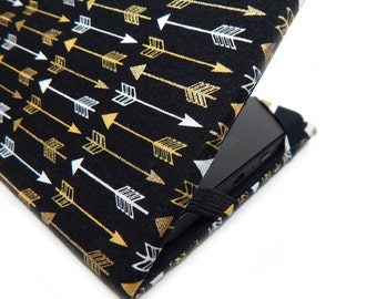 Kindle Cover - Luxe Arrows - hardcover eReader case - Kindle Paperwhite cover - Kindle Touch - tech accessory black and gold arrow print