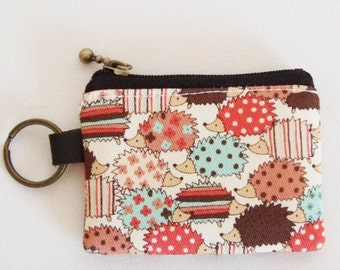 Key/coin purse  - hedgehog chocolate