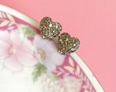 Faux Druzy Heart Earrings, Sparkly Earrings, Silver Heart Earrings, Metallic Earrings, Rock Star Jewelry, Stainless Steel, Valentine's Day
