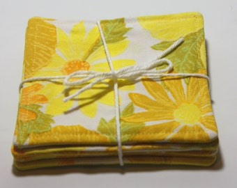 Home made up cycled fabric coasters, four coaster set, hand made coasters, rclaimed fabric coasters yellow coasters, summer coasters