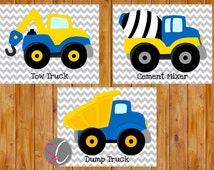 Instant Download Boys Bedroom Decor Construction Trucks Wall Art Vehicles Blue Yellow Things that Go Set of 3 Printable 8x10 JPG Files (72)