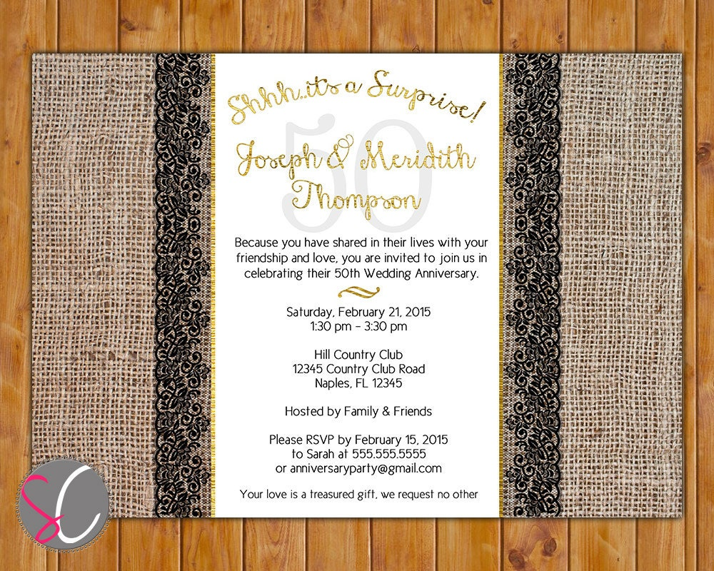Surprise Wedding Anniversary Invitations: Surprise Party Golden Wedding 50th Anniversary Invite Burlap