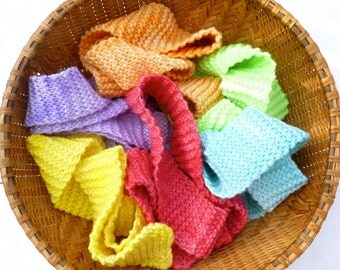 Wool play strips scarfs Fairy tails waldorf open ended toy hand knit wool strips