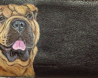 Shar Pei Dog Custom Hand Painted Women's Leather wallet