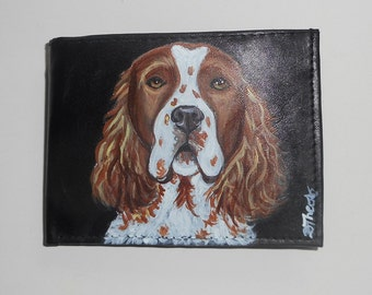 Irish Red and White Setter Dog Custom Painted Leather Men wallet