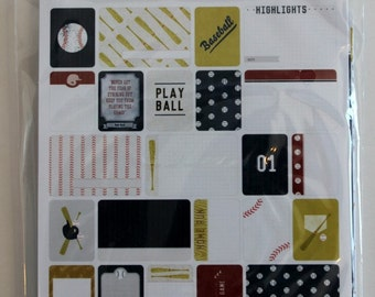 Baseball Project Life Theme Cards, Becky Higgins, American Crafts, Scrapbook Journal Cards