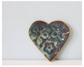 Little heart blue floral pottery - sweet ring holder spoon rest miniature ceramic dish