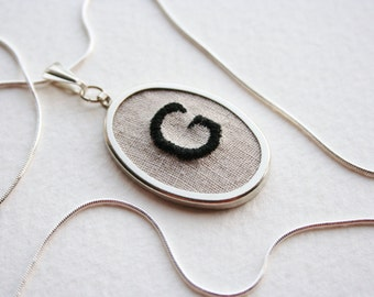 Letter G Personalized Jewelry Necklace Hand Embroidered Initial G