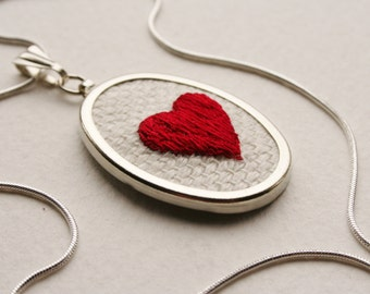 Red Sweet Heart Love Token Hand Embroidered Pendant Necklace