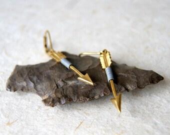 Gray Arrow Earrings - Arrow Earrings - wire wrapped brass arrow earrings - Sagittarius earrings - Arrow Jewelry - boho chic