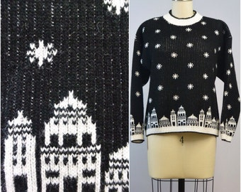 Winter Snowflake Cityscape Sweater by Green Lantern | 1980s Vintage Jumper | Size Small Medium
