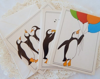 Party Penguins, Vintage 80s Blank Note Cards, Set of 6, A Sunshine Note