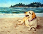 Custom Paintings from Photos, Dog Portrait with scenic seascape, Carmel Painting or any vacation scene, Unique Wedding Gift