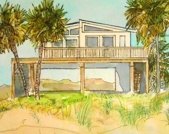 Beach House Art, Shore House Painting, Custom Home painted in Watercolor and Ink by Artist Robin Zebley