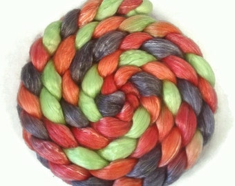 Handpainted Merino Tencel Roving - 4 oz. DRAGON SCALES - Spinning Fiber