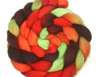 Handpainted Polwarth Wool Roving - 4 oz. DRAGON SCALES - Spinning Fiber