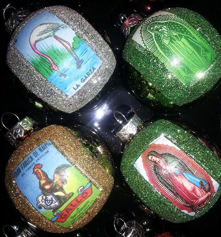 Mexican Christmas Ornaments Virgen De Guadalupe And Loteria