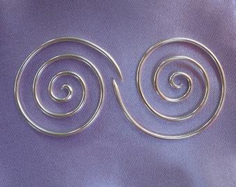 Sterling silver, 16 gauge, Spiral  earrings, #7s, free shipping