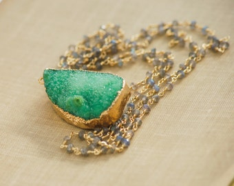 Druzy Necklace Large Sparkly Shamrock Green Raw Crystals Pendant Extra Long Handmade Labradorite Gold Filled Chain