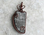 Gibeon Meteorite Pendant in Antique Copper - Sky and Earth Wire Wrap