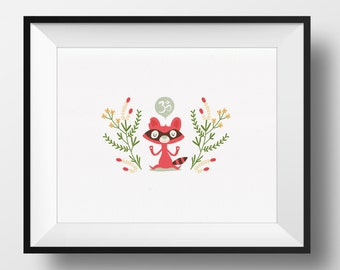 Fine Art Print - Om Raccoon Illustration
