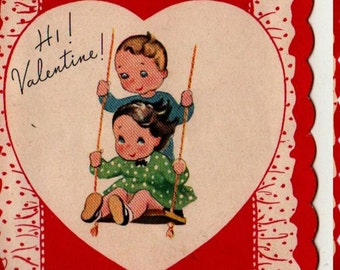 VINTAGE VALENTINE CARD Get in the Swing Two kids on a swing