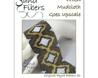 Peyote Pattern - When Mudcloth Goes Upscale Peyote Cuff / Bracelet  - A Sand Fibers For Personal/Commercial Use PDF Pattern