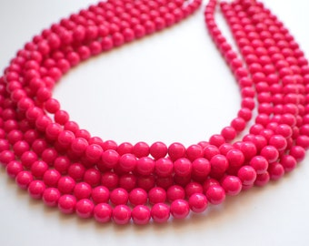 The Michelle- Pink Czech Glass Statement Necklace