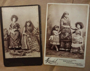 150 Dollars off SALE 2 Cabinet Cards Featuring Fiji Family ID'd On Reverse, Circassian, Costumes, Chihuahua and Weapons