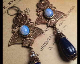 Alora  Earrings in Navy and Vintage Opal Glass