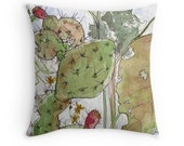 16 18 or 20 Inch Texas Prickly Pear Throw Pillow -  Central Texas Cactus Art Austin fall leaves nature scene Hill Country Art by Ela Steel