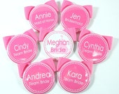 Set of 5 Bridesmaid Buttons, Bachelorette Buttons, Bridal Shower Name Tags, Bachelorette Name Tags