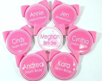 Set of 8 Bridesmaid Buttons, Bachelorette Buttons, Bridal Shower Name Tags, Bachelorette Name Tags