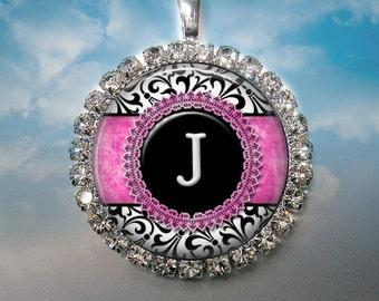 Custom Monogram Bling in Pink, Black and White  - Round - Rhinestone Bezel