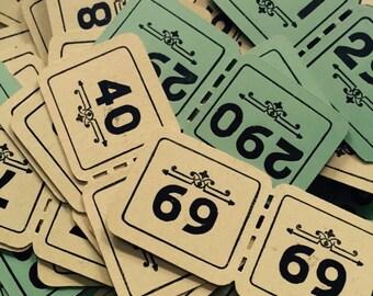 3pcs ANTIQUE COAT CHECKS Faded Dennison Tickets