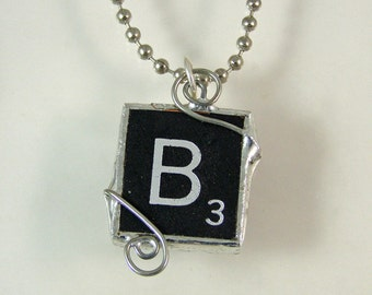 Black Letter B Scrabble Pendant Necklace