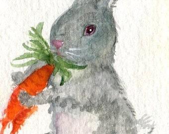 ACEO Grey Bunny Rabbit original watercolor painting,  art card watercolors paintings original