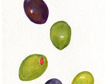 Olives  watercolor painting original  5 x 7 olive art,  kitchen art, kitchen decor, black, green olives illustration, watercolors