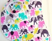Baby Girl Bib & Burp Cloth Set  - Super Absorbent Chenille - Triple Layer Design  -  Multi Pastel Elephant Walk