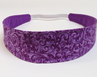 Headband Woman's - Headband Reversible Fabric  - Purple Floral - VICTORIA