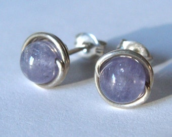 Tanzanite Studs 6mm Tanzanite Earrings Wire Wrapped in Sterling Silver Post Earrings Studs Birthstone Earrings