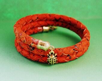 Lady Bug Wrap Bracelet - Memory Wire Bangle