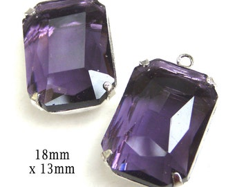 Amethyst Glass Beads, Octagon, Silver Plated Brass Settings, Rhinestone, 18mm x 13mm, Sheer, Purple, Cabochon, Glass Gems, One Pair