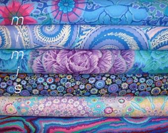 Kaffe Fassett Millefiori ,Brassica, Jupiter,Dream,BLUE,LILAC,  6 Half Yd BundleCotton Quilt Apparrel Fabric